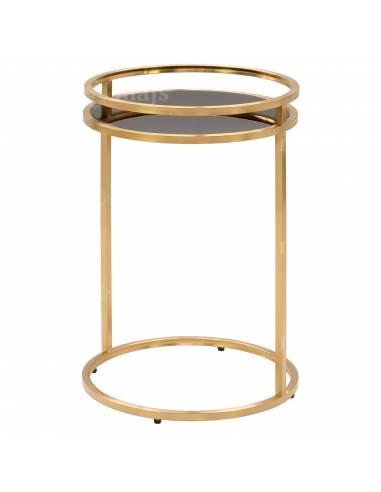 Złoty, metalowy stolik okrągły ze...