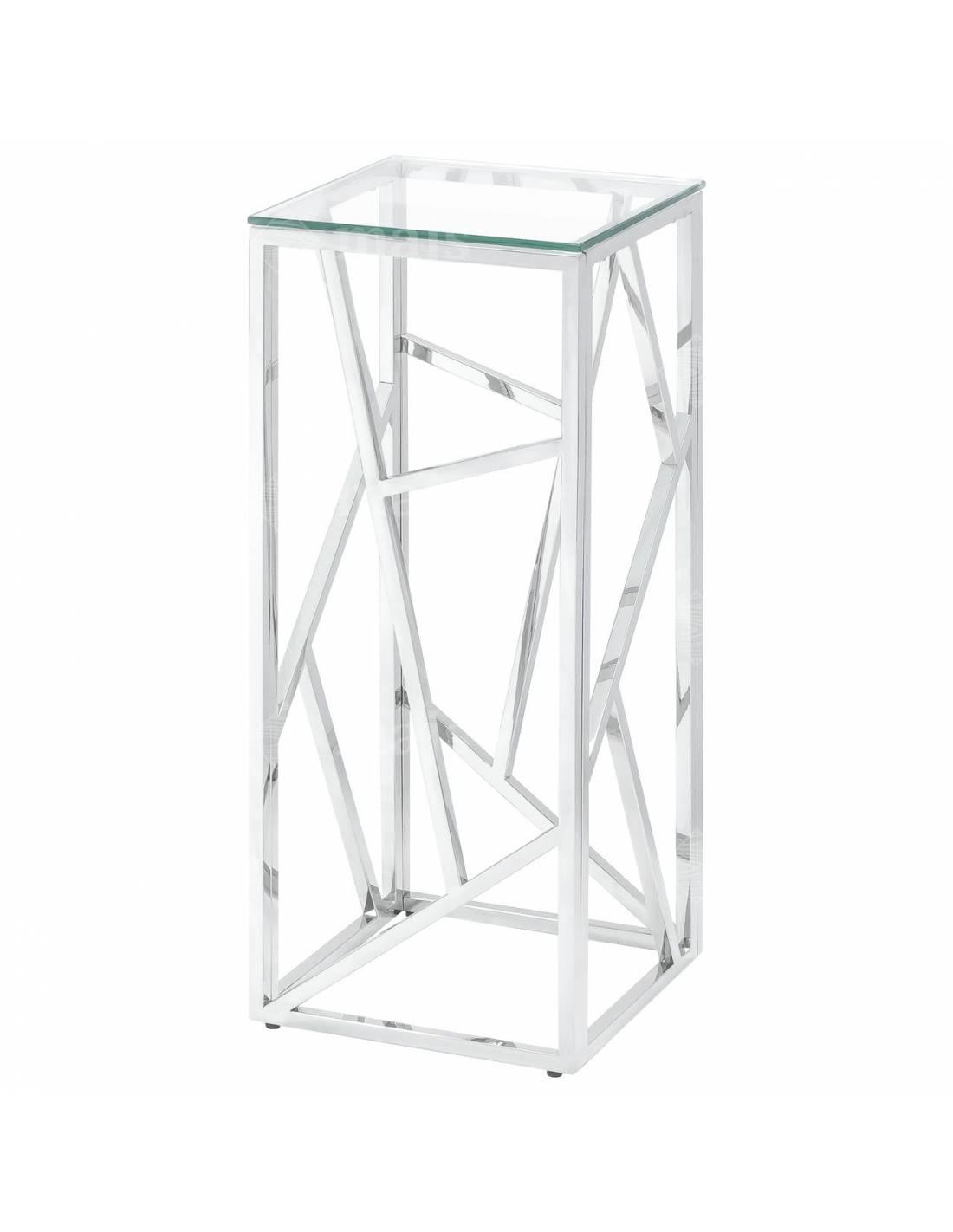 Stolik wysoki kwietnik srebrny chromowany ze szklanym blatem