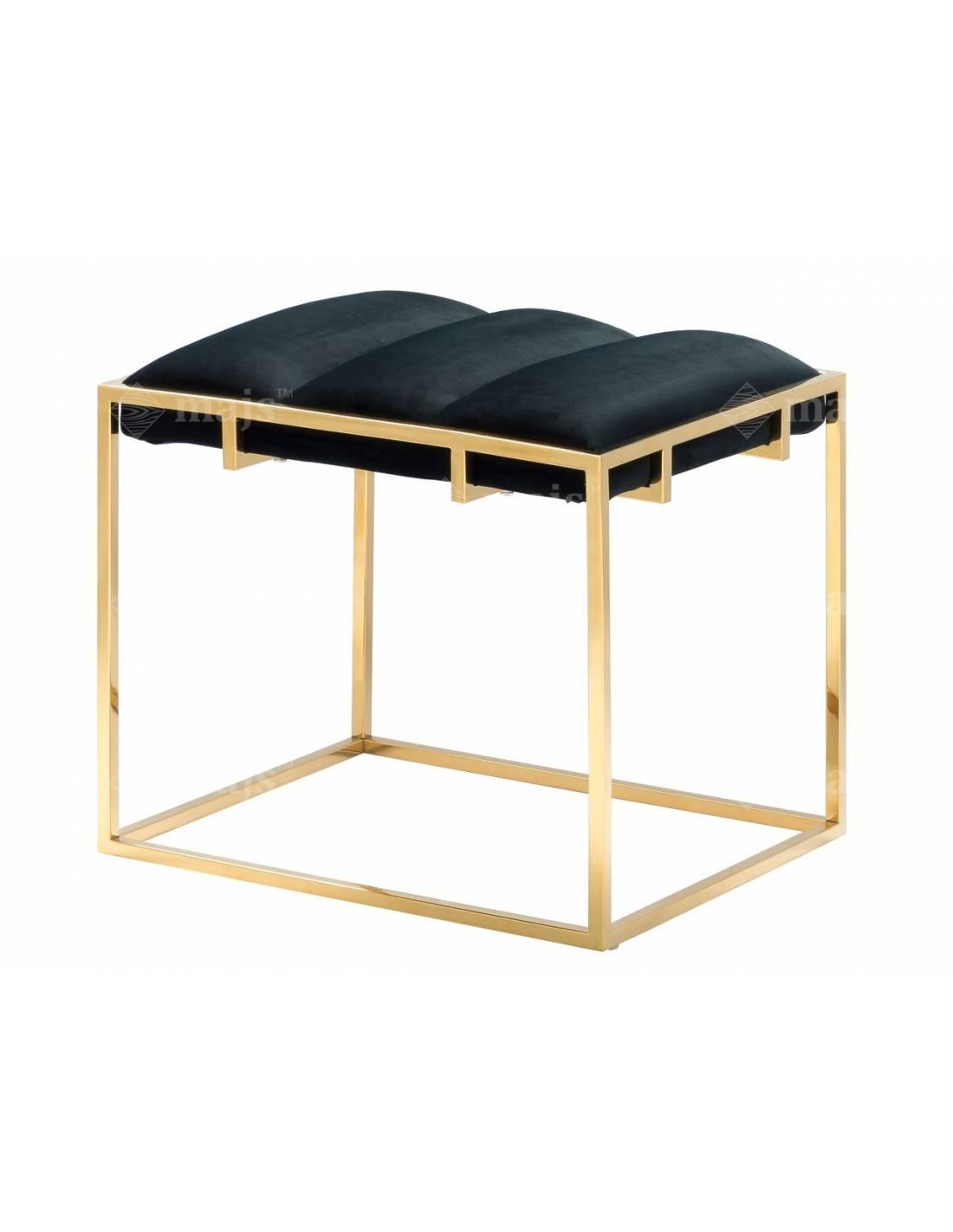 Miękkie siedzisko, pufa na metalowym, złotym stelażu