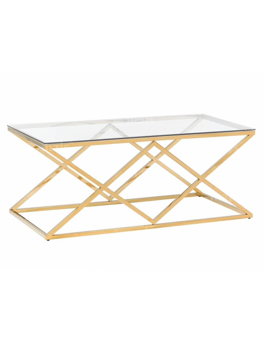 Metalowy złoty stolik kawowy ze szklanym blatem
