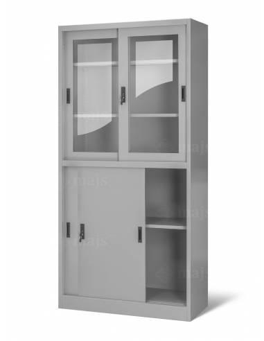 Witryna szklana z szafką i drzwiami...