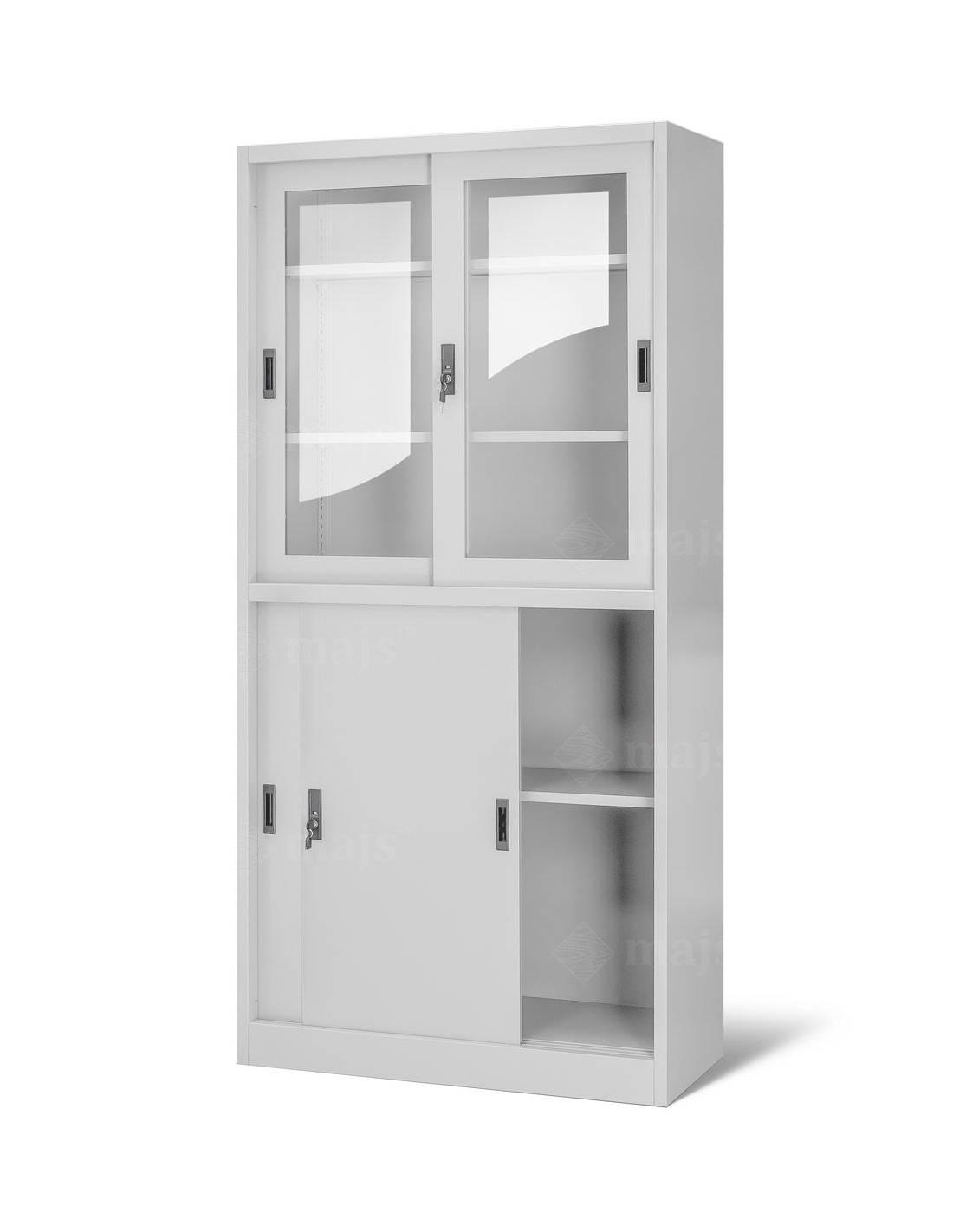 Witryna szklana z szafką i drzwiami przesuwnymi