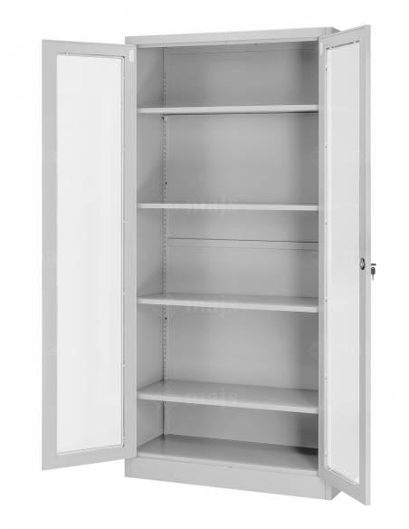 Metalowa szafa do biura z pólkami i przeszklonymi drzwiami