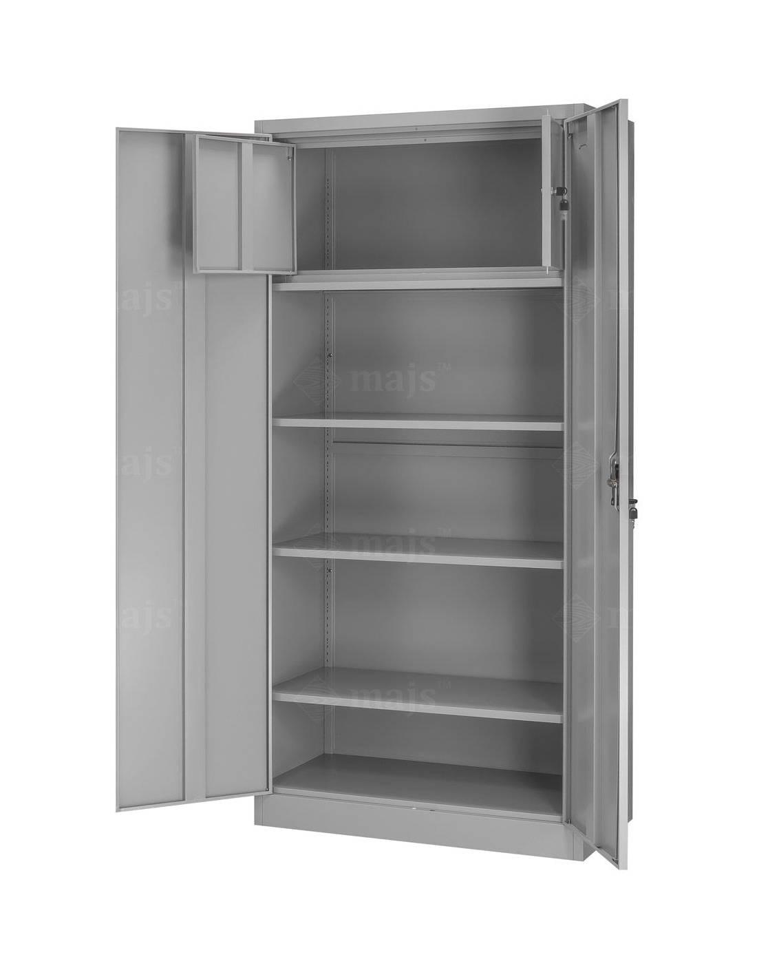 Metalowa, biurowa szafa dwudrzwiowa z półkami i szafką wewnętrzną