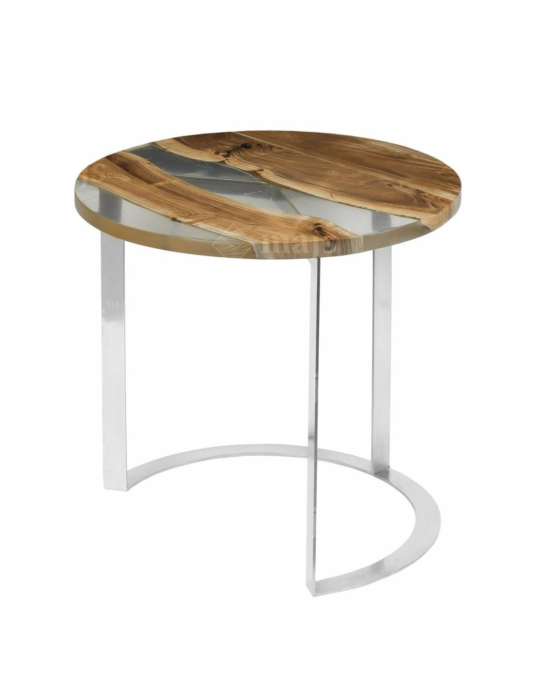Okrągły stolik kawowy z blatem z palisandru i żywicy - duży