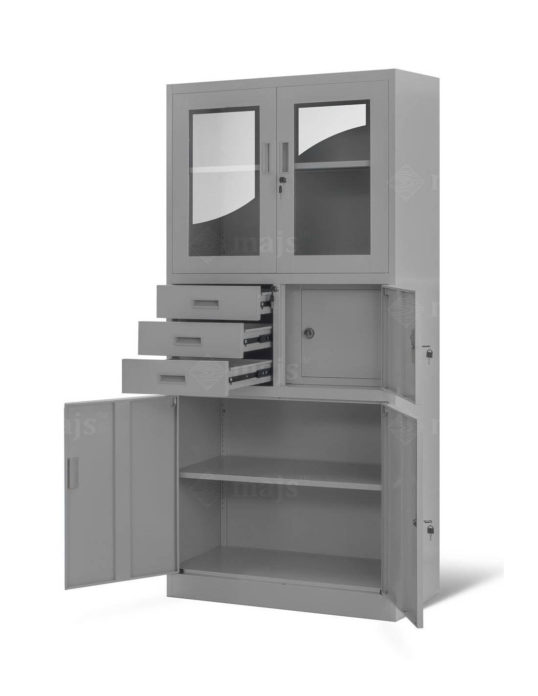 Metalowa witryna szafa aktowa gabinetowa do biura z sejfem na szyfr