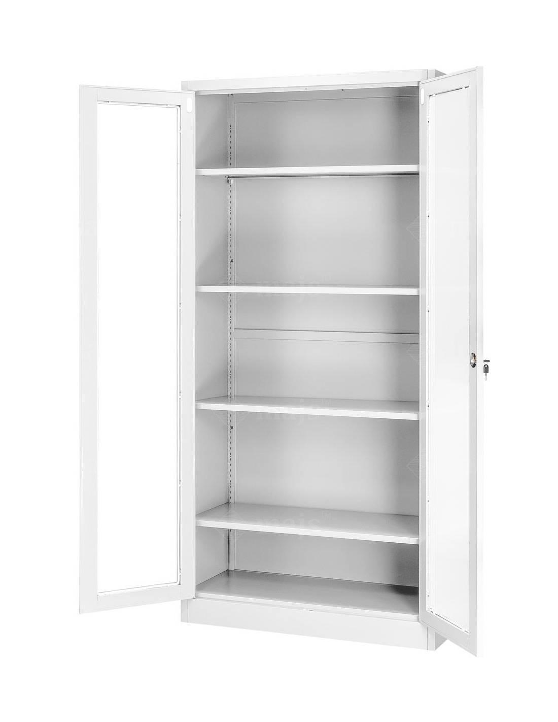 Witryna z półkami i przeszklonymi drzwiami na dokumenty lub ekspozycję