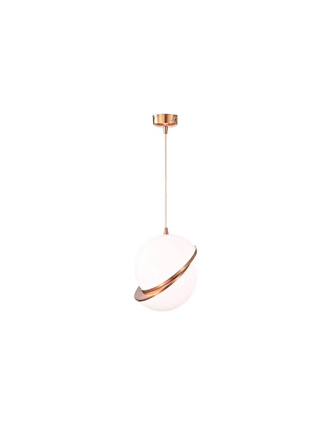 Okrągła lampa sufitowa z mosiężnym zdobieniem i akrylowym kloszem