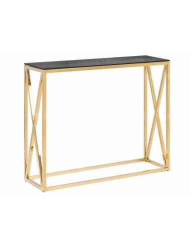 Konsola metalowa w złotym, lustrzanym wykończeniu