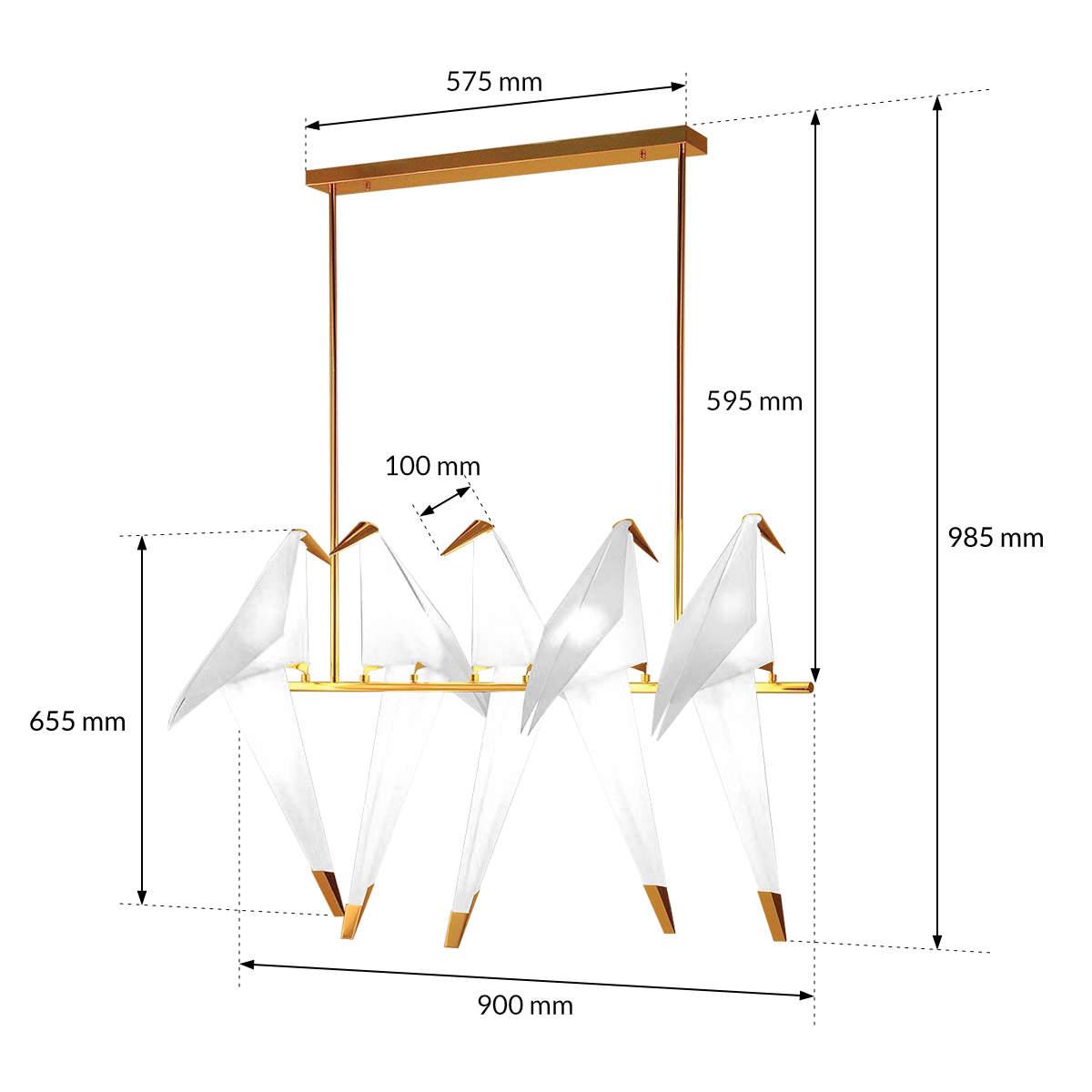 Lampa origami ptaki ze złotymi elementami
